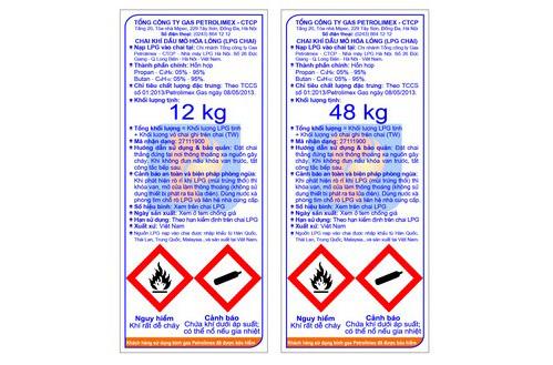 Nhãn hàng bình gas Petrolimex